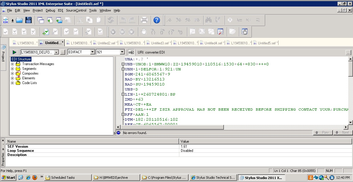 Screenshot of EDIFACT 921