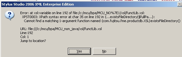 Screenshot Java Error