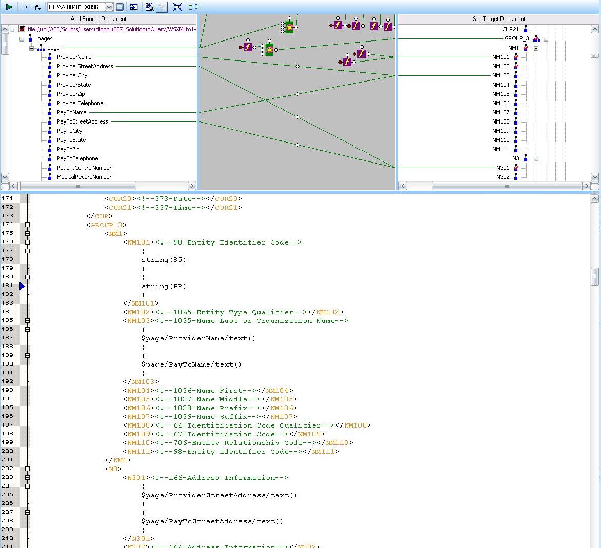 SSDN - XML to 837I EDI -- multiple NM1 segments