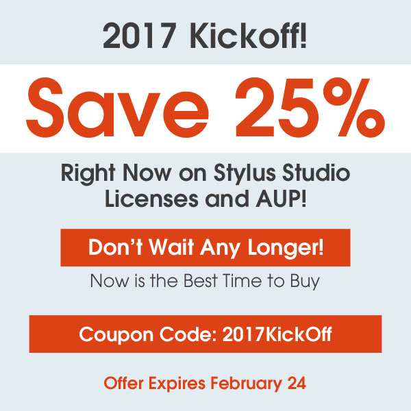 Stylus Studio Save 25%