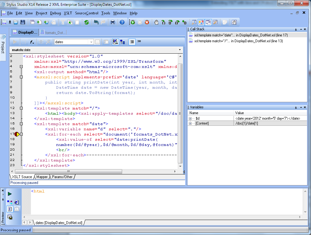 Extending xslt with java and c stylus studio blog the call stack window shows the current stack and the variable window shows all variables in scope with their values and xslt context which represent the maxwellsz